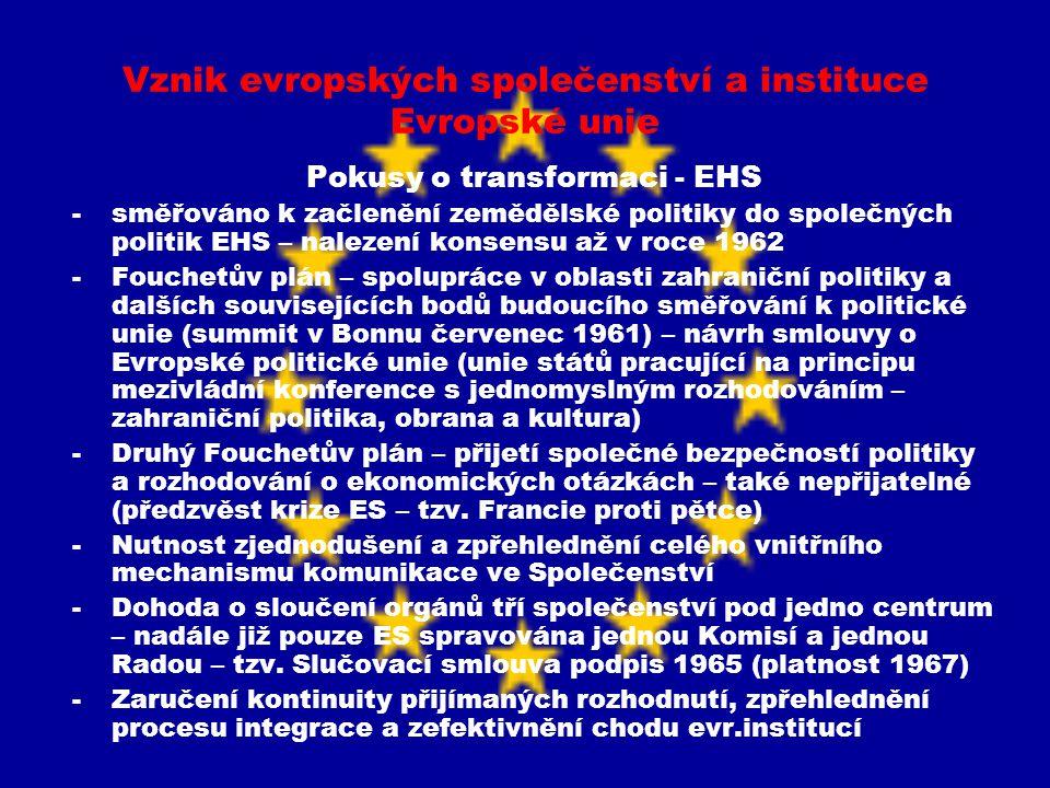 Vznik evropských společenství a instituce Evropské unie Pokusy o transformaci - EHS -směřováno k začlenění zemědělské politiky do společných politik E