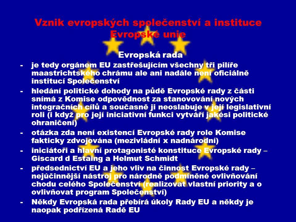 Vznik evropských společenství a instituce Evropské unie Evropská rada -je tedy orgánem EU zastřešujícím všechny tři pilíře maastrichtského chrámu ale
