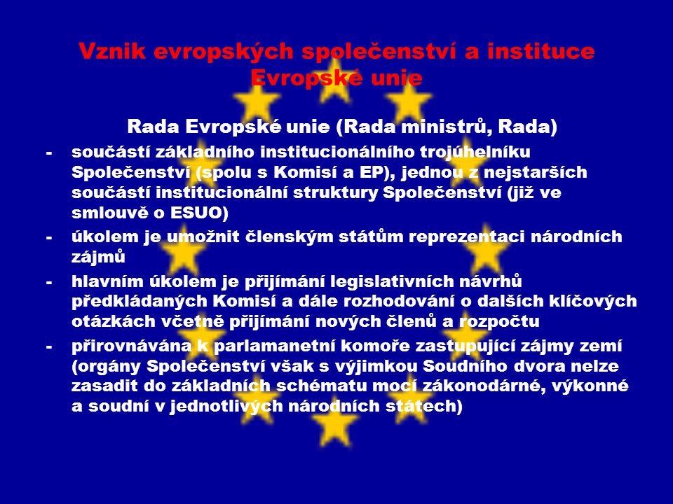 Vznik evropských společenství a instituce Evropské unie Rada Evropské unie (Rada ministrů, Rada) -součástí základního institucionálního trojúhelníku S