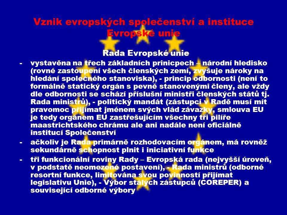 Vznik evropských společenství a instituce Evropské unie Rada Evropské unie -vystavěna na třech základních prinicpech – národní hledisko (rovné zastoup