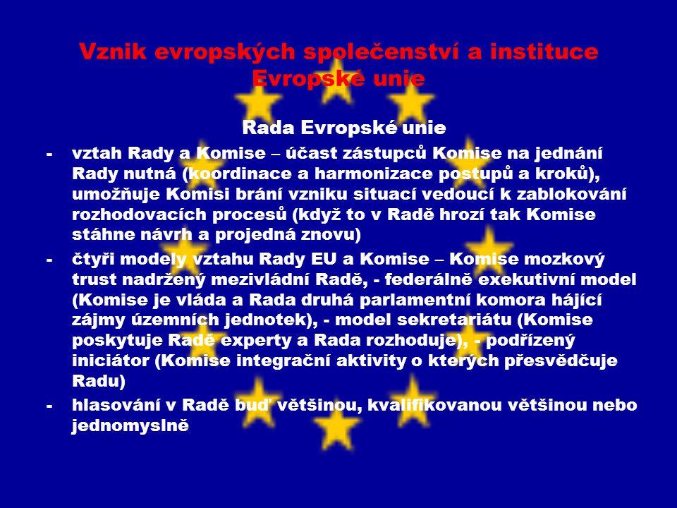 Vznik evropských společenství a instituce Evropské unie Rada Evropské unie -vztah Rady a Komise – účast zástupců Komise na jednání Rady nutná (koordin
