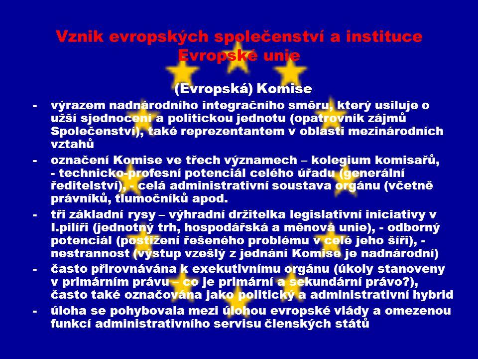 Vznik evropských společenství a instituce Evropské unie (Evropská) Komise -výrazem nadnárodního integračního směru, který usiluje o užší sjednocení a
