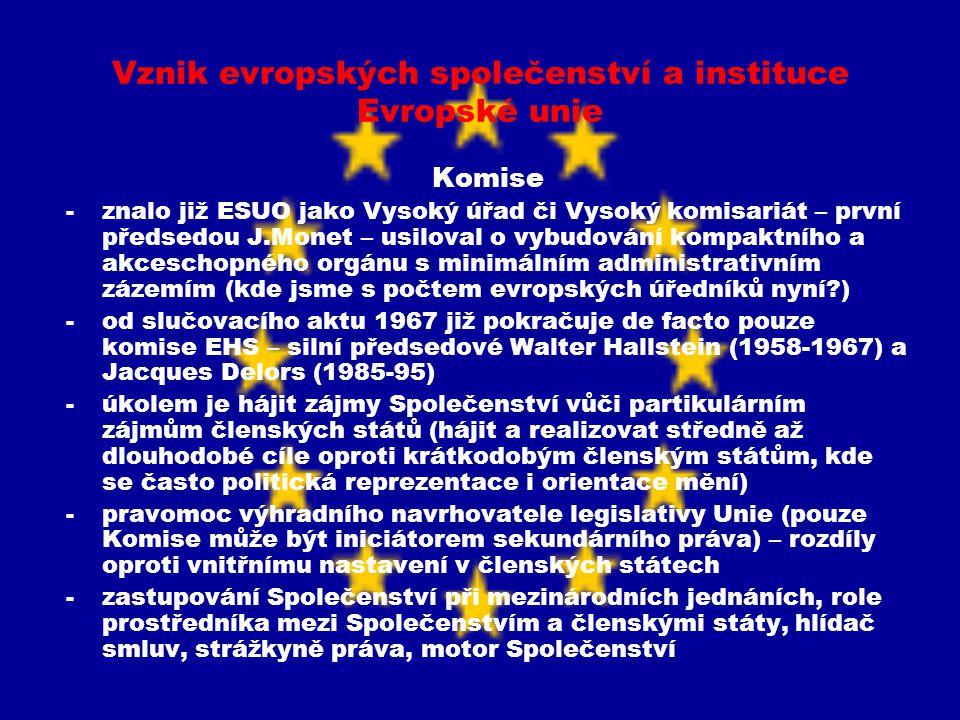 Vznik evropských společenství a instituce Evropské unie Komise -znalo již ESUO jako Vysoký úřad či Vysoký komisariát – první předsedou J.Monet – usilo