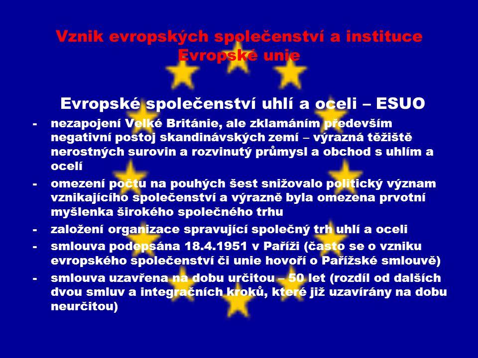 Vznik evropských společenství a instituce Evropské unie Evropské společenství uhlí a oceli – ESUO -nezapojení Velké Británie, ale zklamáním především