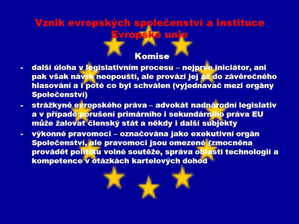 Vznik evropských společenství a instituce Evropské unie Komise -další úloha v legislativním procesu – nejprve iniciátor, ani pak však návrh neopouští,