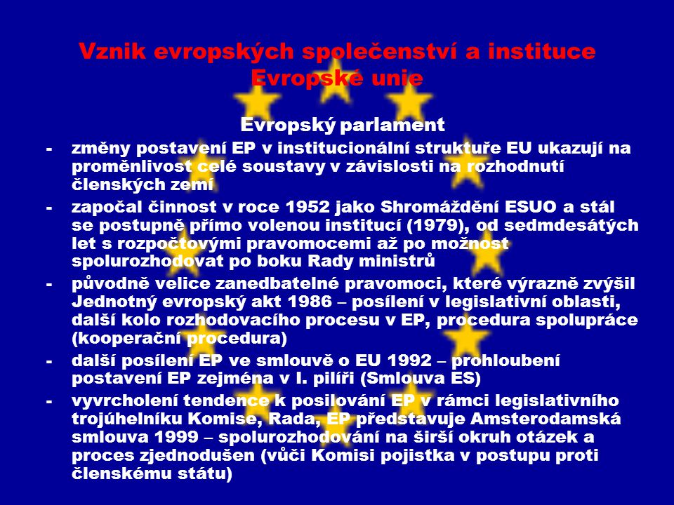 Vznik evropských společenství a instituce Evropské unie Evropský parlament -změny postavení EP v institucionální struktuře EU ukazují na proměnlivost