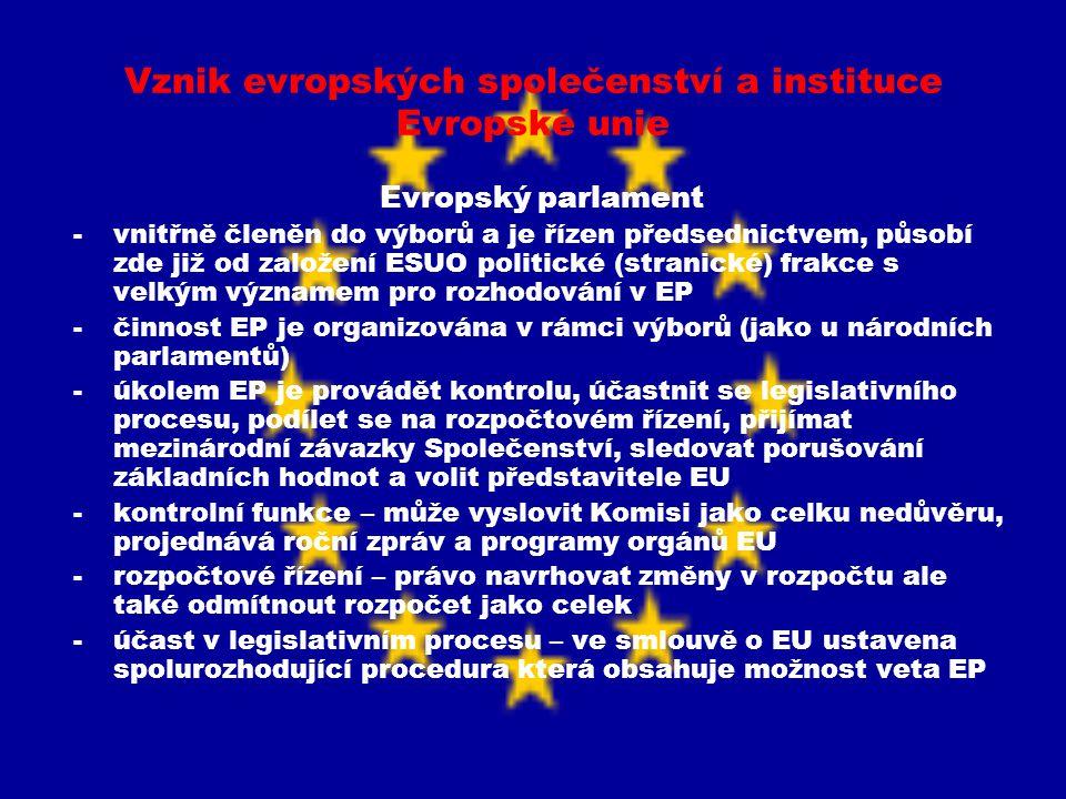 Vznik evropských společenství a instituce Evropské unie Evropský parlament -vnitřně členěn do výborů a je řízen předsednictvem, působí zde již od zalo