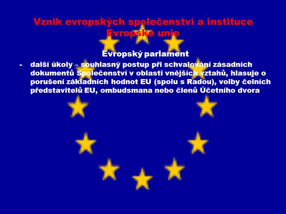 Vznik evropských společenství a instituce Evropské unie Evropský parlament -další úkoly – souhlasný postup při schvalování zásadních dokumentů Společe