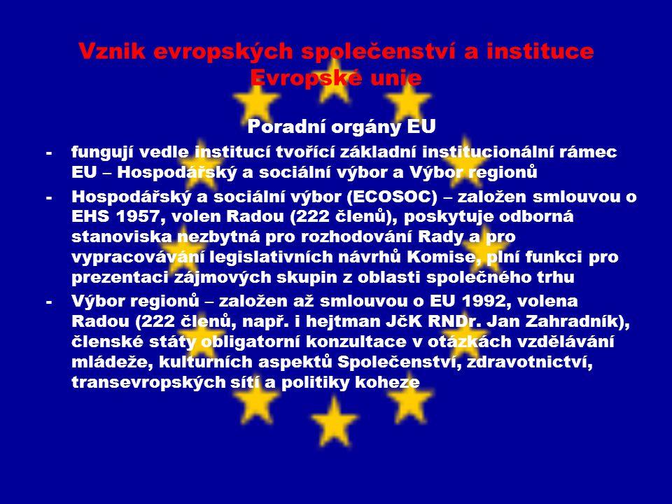 Vznik evropských společenství a instituce Evropské unie Poradní orgány EU -fungují vedle institucí tvořící základní institucionální rámec EU – Hospodá