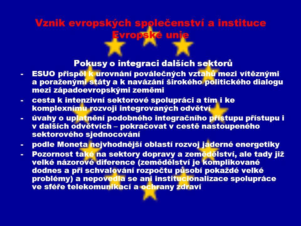 Vznik evropských společenství a instituce Evropské unie Pokusy o integraci dalších sektorů -ESUO přispěl k urovnání poválečných vztahů mezi vítěznými