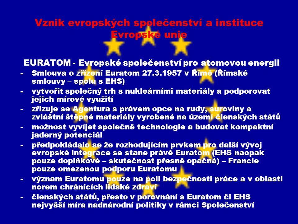 Vznik evropských společenství a instituce Evropské unie EURATOM - Evropské společenství pro atomovou energii -Smlouva o zřízení Euratom 27.3.1957 v Ří
