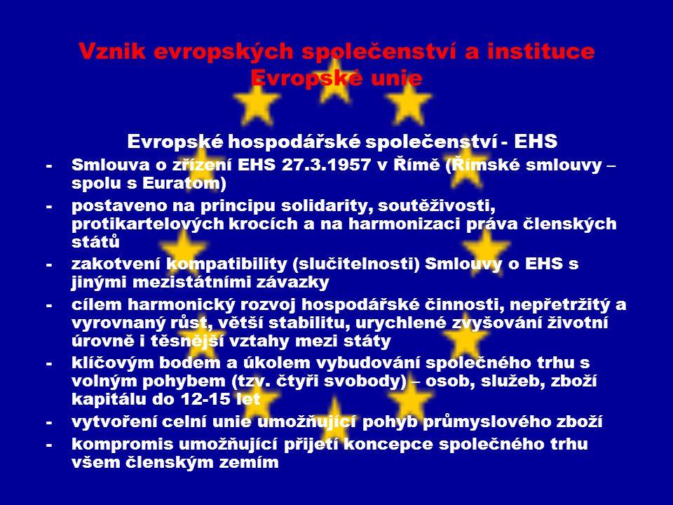Vznik evropských společenství a instituce Evropské unie Evropské hospodářské společenství - EHS -Smlouva o zřízení EHS 27.3.1957 v Římě (Římské smlouv