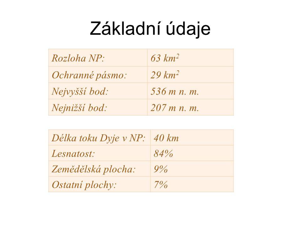 Základní údaje Rozloha NP:63 km 2 Ochranné pásmo:29 km 2 Nejvyšší bod:536 m n.