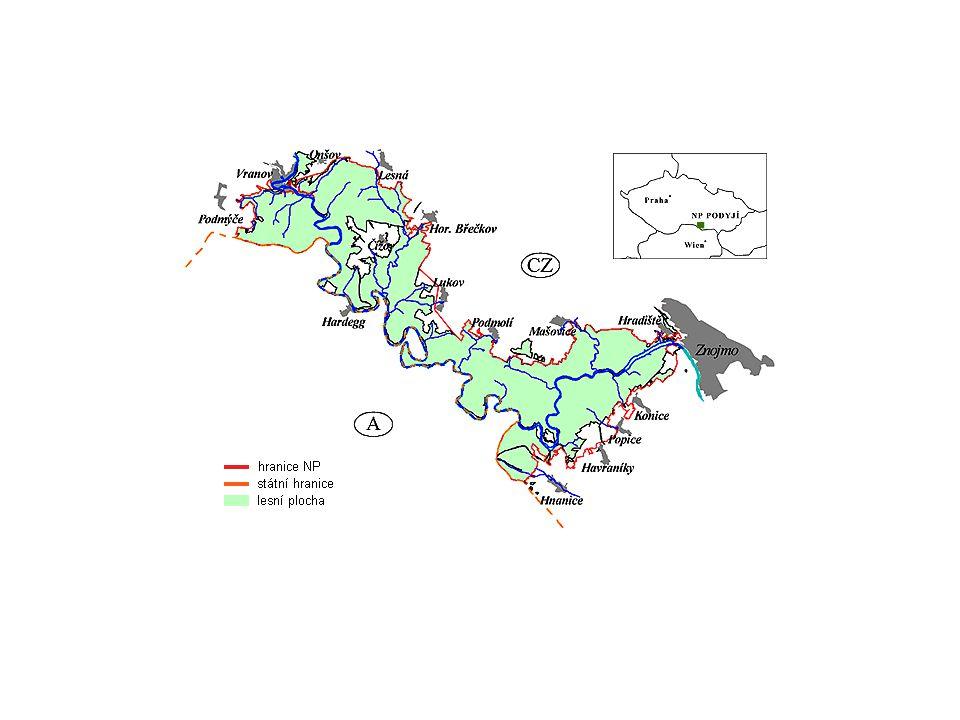 Přirozenou osou celého území je řeka Dyje protékající 40 km dlouhým a hlubokým údolím Četné ostré meandry Les je na ploše asi 52 km², při okrajích NP zemědělsky využívané plochy Na jihovýchodním okraji na spojnici Znojmo-Hnanice leží unikátní pásmo stepních vřesovištních lad územím prochází hranice přibližně 900 let –není postiženo urbanizací (výjimka Hardegg) V celém území se výrazně projevuje tzv.