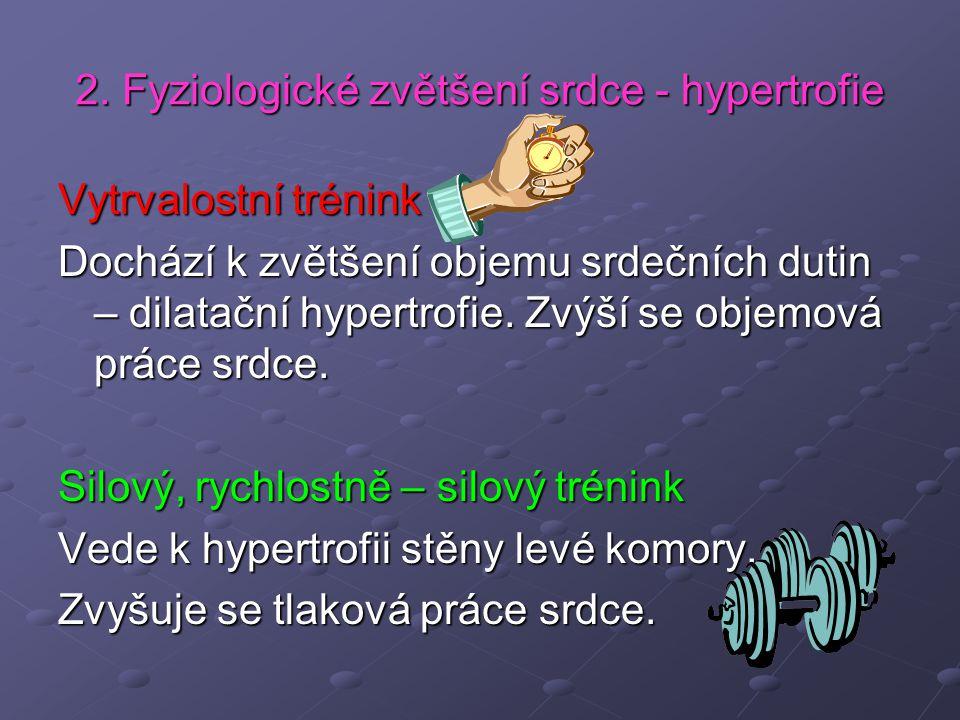2. Fyziologické zvětšení srdce - hypertrofie Vytrvalostní trénink Dochází k zvětšení objemu srdečních dutin – dilatační hypertrofie. Zvýší se objemová
