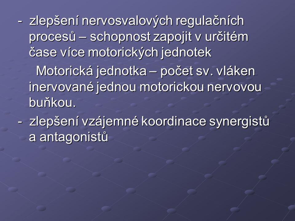 - zlepšení nervosvalových regulačních procesů – schopnost zapojit v určitém čase více motorických jednotek Motorická jednotka – počet sv. vláken inerv