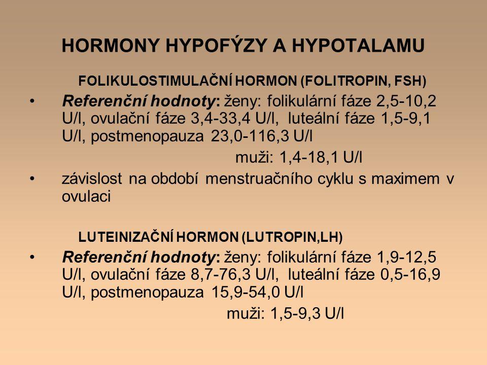 HORMONY HYPOFÝZY A HYPOTALAMU FOLIKULOSTIMULAČNÍ HORMON (FOLITROPIN, FSH) Referenční hodnoty: ženy: folikulární fáze 2,5-10,2 U/l, ovulační fáze 3,4-3