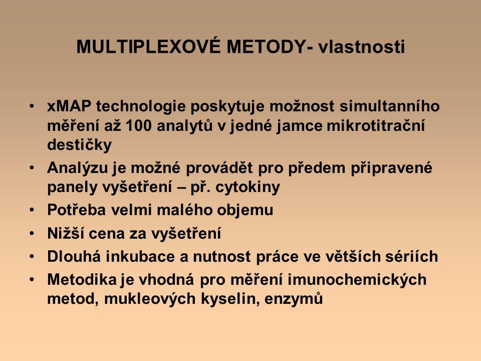 MULTIPLEXOVÉ METODY- vlastnosti xMAP technologie poskytuje možnost simultanního měření až 100 analytů v jedné jamce mikrotitrační destičky Analýzu je
