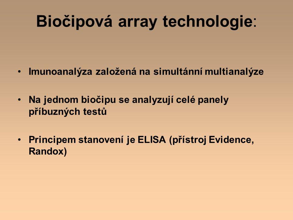 Biočipová array technologie: Imunoanalýza založená na simultánní multianalýze Na jednom biočipu se analyzují celé panely příbuzných testů Principem st
