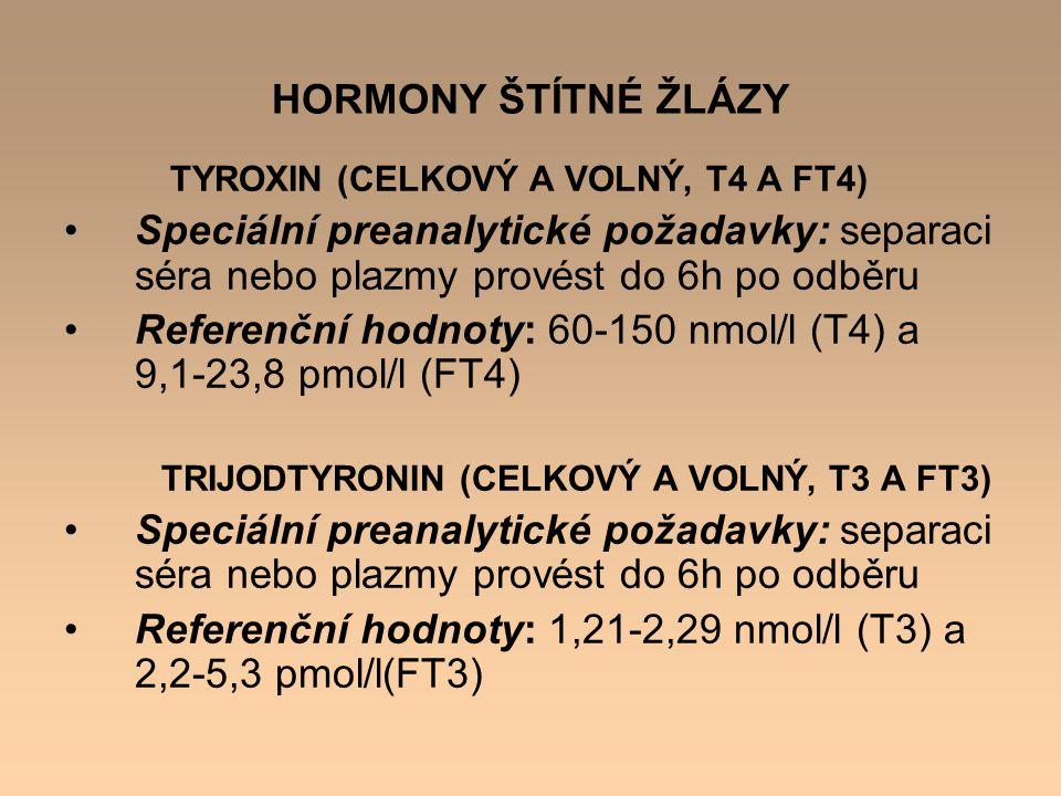 """Další látky, které nejsou hormony, ale týkají se metabolismu štítné žlázy TYREOGLOBULIN ( THYROGLOBULIN, THG) Referenční hodnoty: do 55 ug/l glykoprotein obsahující jod, prekursor tyroxinu a trijodtyroninu, tvořený dvěma podjednotkami PROTILÁTKY PROTI TYREOIDÁLNÍ PEROXIDÁZE (ANTI- TPO, TPOAB) Referenční hodnoty: do 50 kU/l (U/ml) mohou se zúčastnit na poškození tyreocytů PROTILÁTKY PROTI TYREOGLOBULINU (ANTI-TG, TGAB) Referenční hodnoty: do 150 kU/l (U/ml) PROTILÁTKY PROTI RECEPTORŮM TSH (TRAK) Referenční hodnoty: negativní <1,0 U/l (Brahms)<1,5 U/l (Roche) """"šedá zóna 1,0-1,5 U/l 1,5-1,75 U/l pozitivní >1,5 U/l>1,75 U/l"""