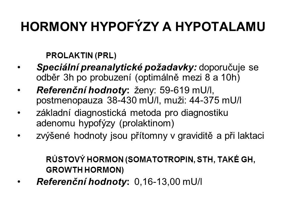 HORMONY HYPOFÝZY A HYPOTALAMU PROLAKTIN (PRL) Speciální preanalytické požadavky: doporučuje se odběr 3h po probuzení (optimálně mezi 8 a 10h) Referenč