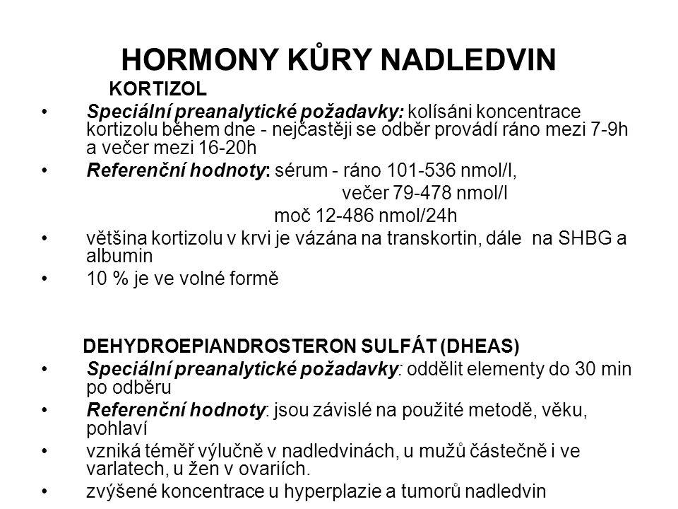 HORMONY KŮRY NADLEDVIN KORTIZOL Speciální preanalytické požadavky: kolísáni koncentrace kortizolu během dne - nejčastěji se odběr provádí ráno mezi 7-