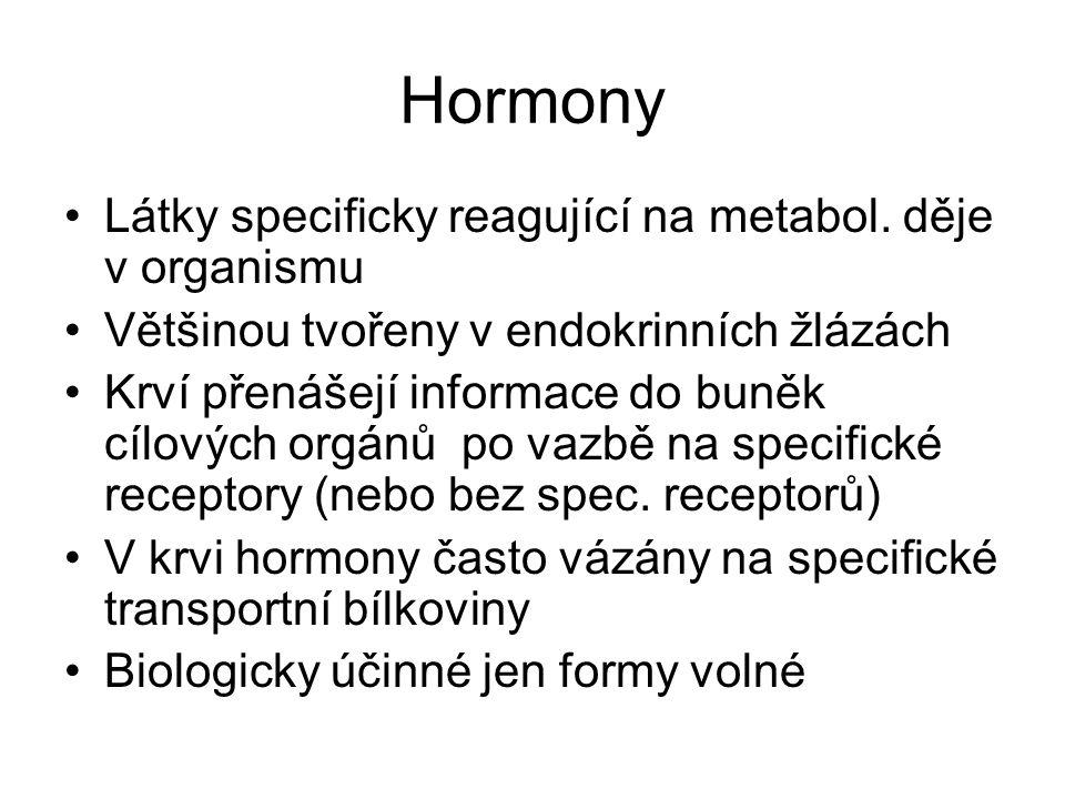 Hormony Látky specificky reagující na metabol. děje v organismu Většinou tvořeny v endokrinních žlázách Krví přenášejí informace do buněk cílových org