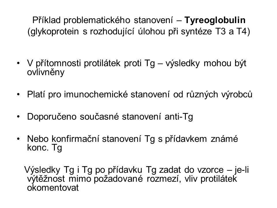 Příklad problematického stanovení – Tyreoglobulin (glykoprotein s rozhodující úlohou při syntéze T3 a T4) V přítomnosti protilátek proti Tg – výsledky mohou být ovlivněny Platí pro imunochemické stanovení od různých výrobců Doporučeno současné stanovení anti-Tg Nebo konfirmační stanovení Tg s přídavkem známé konc.