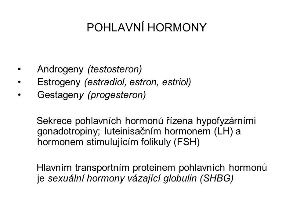 POHLAVNÍ HORMONY TESTOSTERON Referenční hodnoty: ženy 0,2-2,9 nmol/l, muži 9,9-27,8 nmol/l v krvi vázaný na bílkoviny, část je volná změny koncentrace vazebných bílkovin mohou ovlivnit koncentraci, v praxi se používá index volných androgenů (FAI), vypočítaný jako poměr testosteronu celkového a SHBG ESTRADIOL (17-Β-ESTRADIOL) Referenční hodnoty: ženy: folikulární fáze 40-606 pmol/l, ovulační fáze 536-1930 pmol/l, luteální fáze 121-718 pmol/l, posmenopauza <136 pmol/l, muži: <121 pmol/l hlavní ženský steroidní pohlavní hormon sledování indukce ovulace a ovariální hyperstimulace, anomálií menstruačního cyklu
