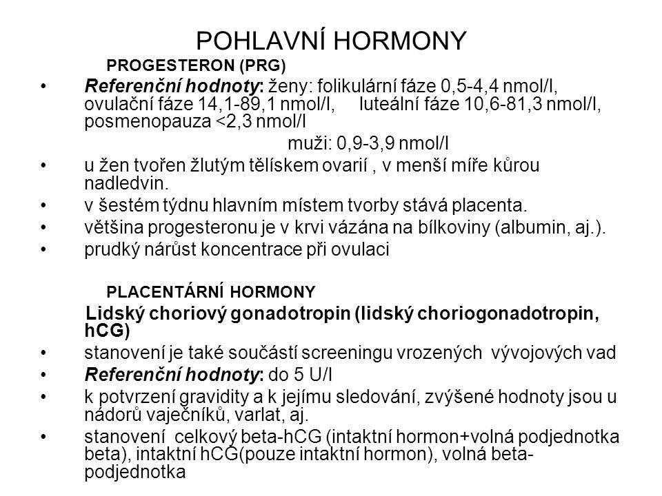 POHLAVNÍ HORMONY PROGESTERON (PRG) Referenční hodnoty: ženy: folikulární fáze 0,5-4,4 nmol/l, ovulační fáze 14,1-89,1 nmol/l, luteální fáze 10,6-81,3 nmol/l, posmenopauza <2,3 nmol/l muži: 0,9-3,9 nmol/l u žen tvořen žlutým tělískem ovarií, v menší míře kůrou nadledvin.
