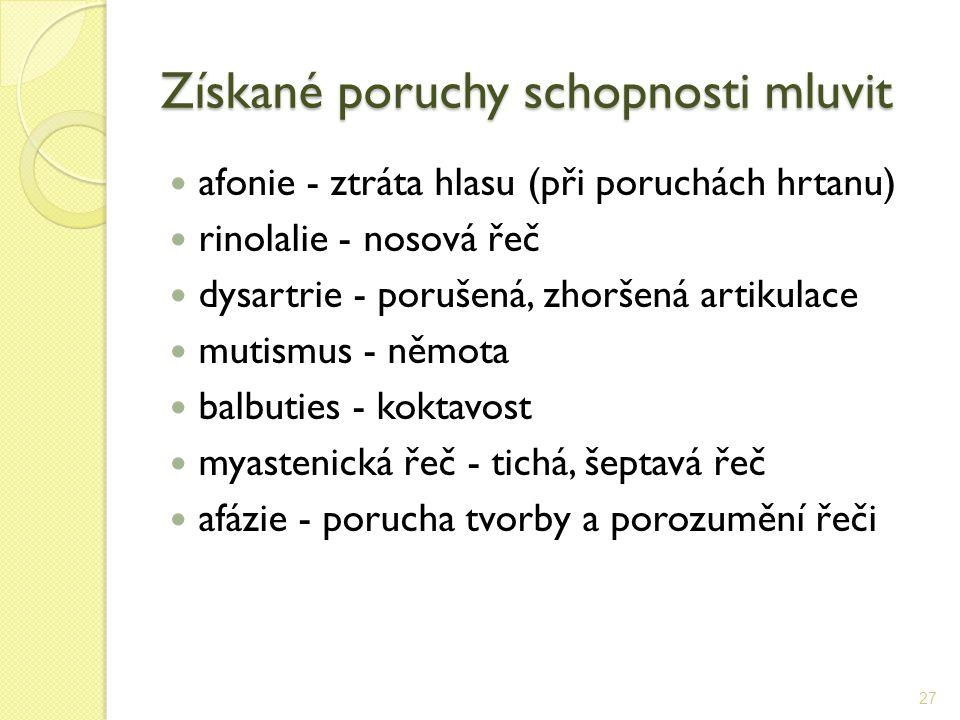 Získané poruchy schopnosti mluvit afonie - ztráta hlasu (při poruchách hrtanu) rinolalie - nosová řeč dysartrie - porušená, zhoršená artikulace mutism