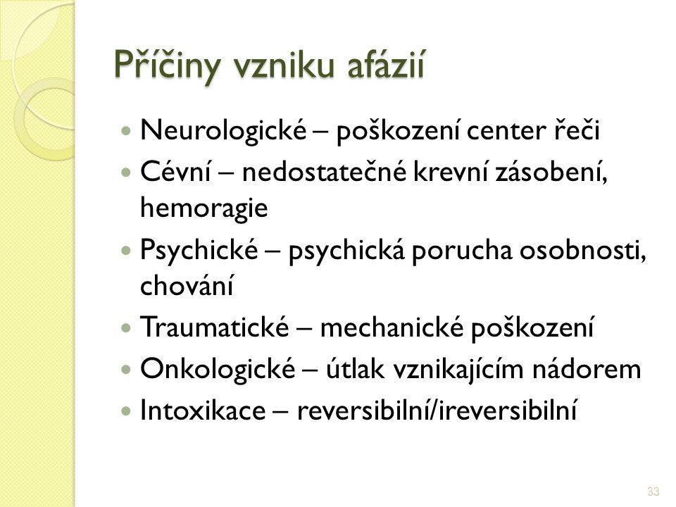 Příčiny vzniku afázií Neurologické – poškození center řeči Cévní – nedostatečné krevní zásobení, hemoragie Psychické – psychická porucha osobnosti, ch