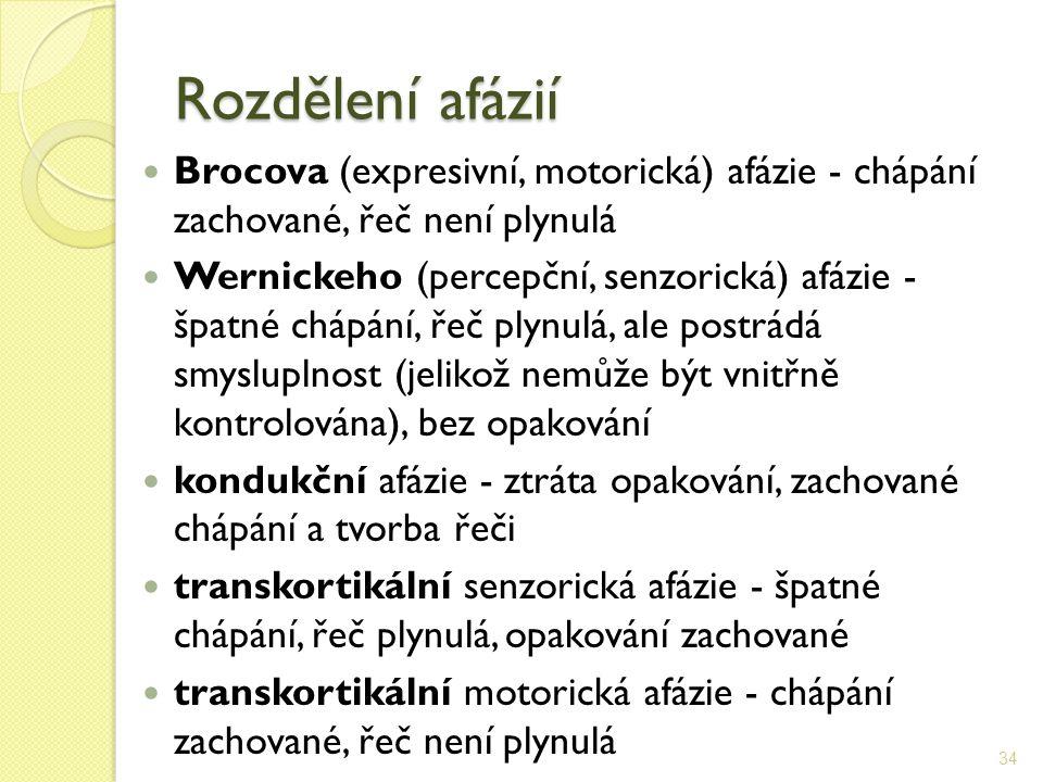 Rozdělení afázií Brocova (expresivní, motorická) afázie - chápání zachované, řeč není plynulá Wernickeho (percepční, senzorická) afázie - špatné chápá