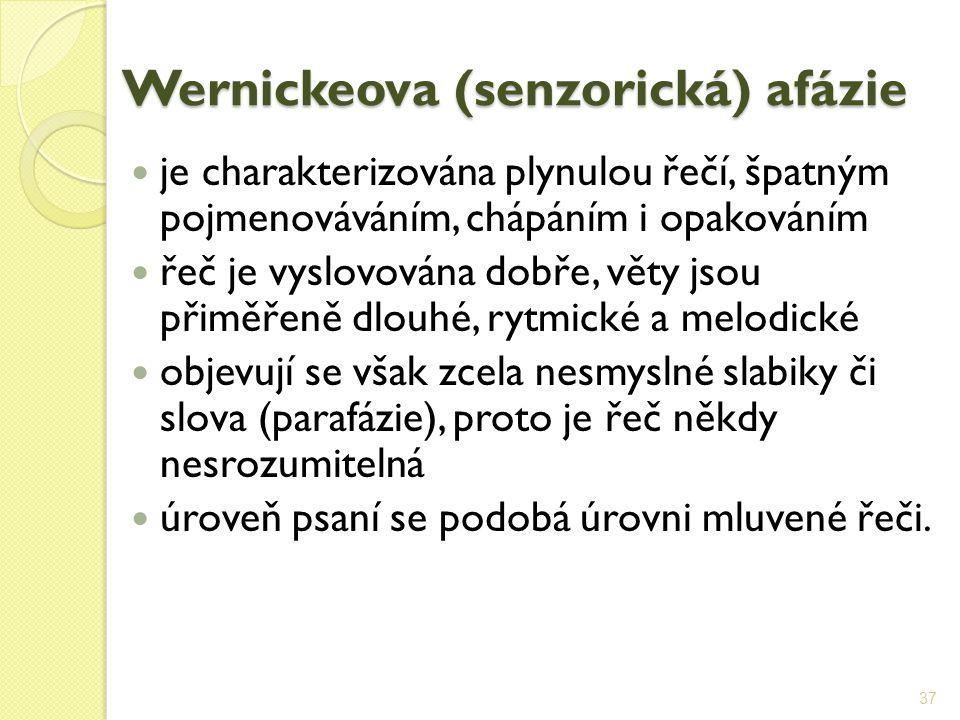 Wernickeova (senzorická) afázie je charakterizována plynulou řečí, špatným pojmenováváním, chápáním i opakováním řeč je vyslovována dobře, věty jsou p