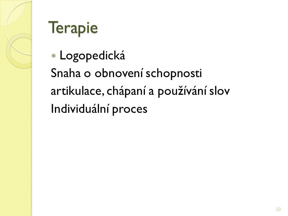 Terapie Logopedická Snaha o obnovení schopnosti artikulace, chápaní a používání slov Individuální proces 39