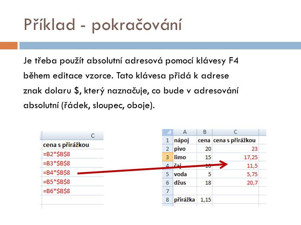 Příklad - pokračování Je třeba použít absolutní adresová pomocí klávesy F4 během editace vzorce.