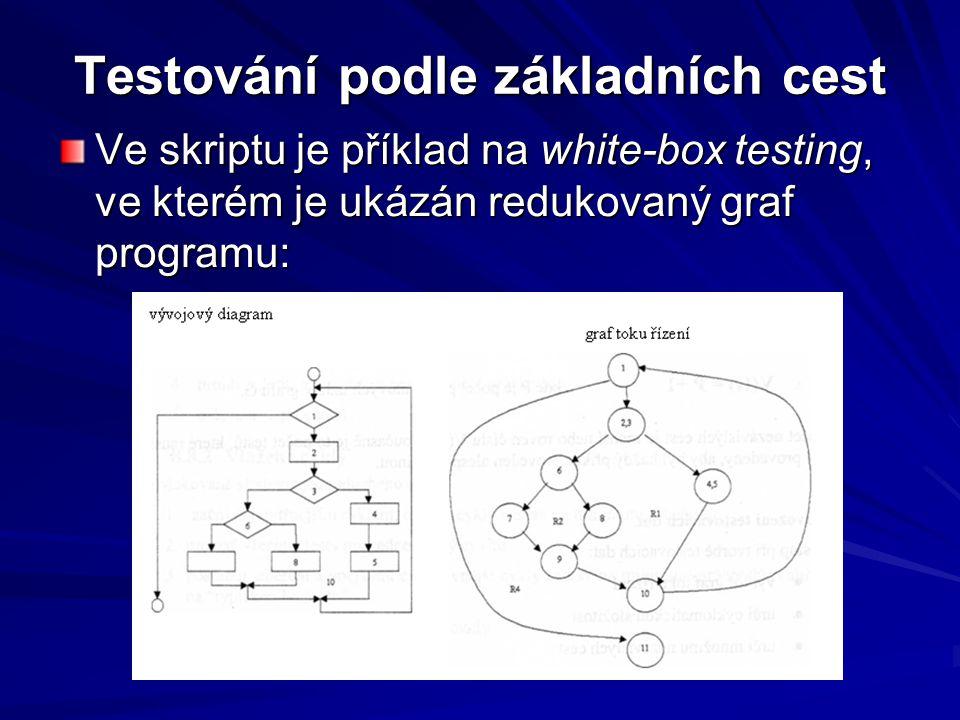 Testování podle základních cest Ve skriptu je příklad na white-box testing, ve kterém je ukázán redukovaný graf programu:
