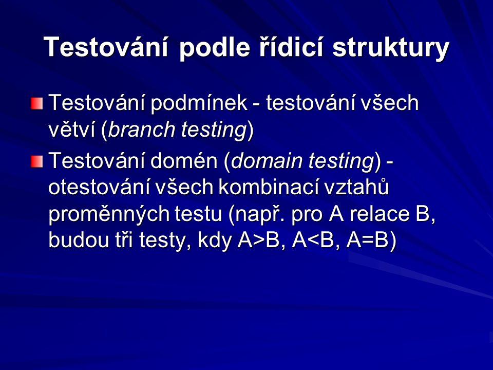 Testování podle řídicí struktury Testování podmínek - testování všech větví (branch testing) Testování domén (domain testing) - otestování všech kombinací vztahů proměnných testu (např.