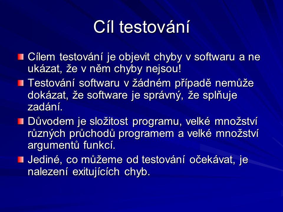 Cíl testování Cílem testování je objevit chyby v softwaru a ne ukázat, že v něm chyby nejsou.