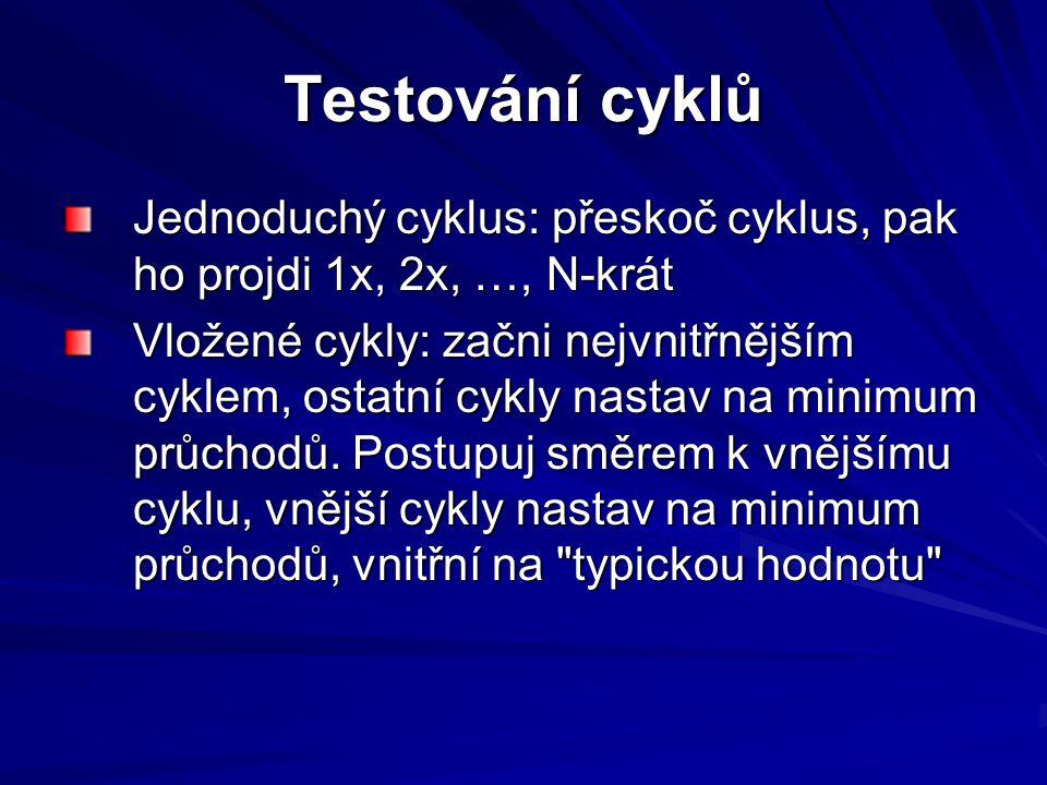 Testování cyklů Jednoduchý cyklus: přeskoč cyklus, pak ho projdi 1x, 2x, …, N-krát Vložené cykly: začni nejvnitřnějším cyklem, ostatní cykly nastav na minimum průchodů.