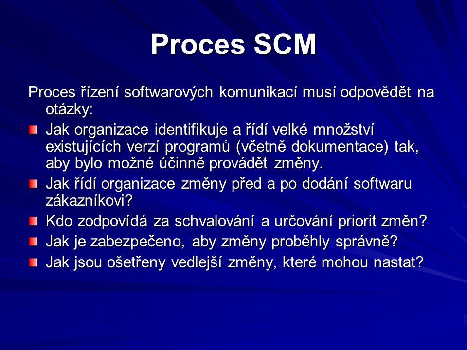 Proces SCM Proces řízení softwarových komunikací musí odpovědět na otázky: Jak organizace identifikuje a řídí velké množství existujících verzí programů (včetně dokumentace) tak, aby bylo možné účinně provádět změny.