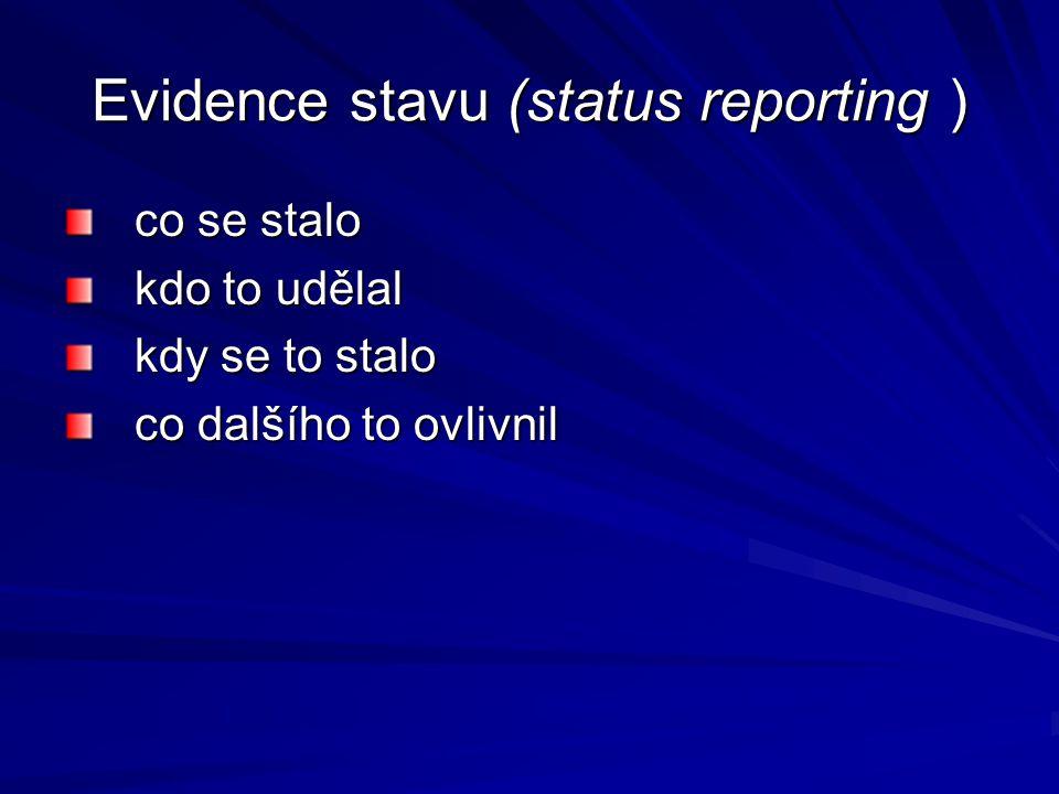 Evidence stavu (status reporting ) co se stalo kdo to udělal kdy se to stalo co dalšího to ovlivnil