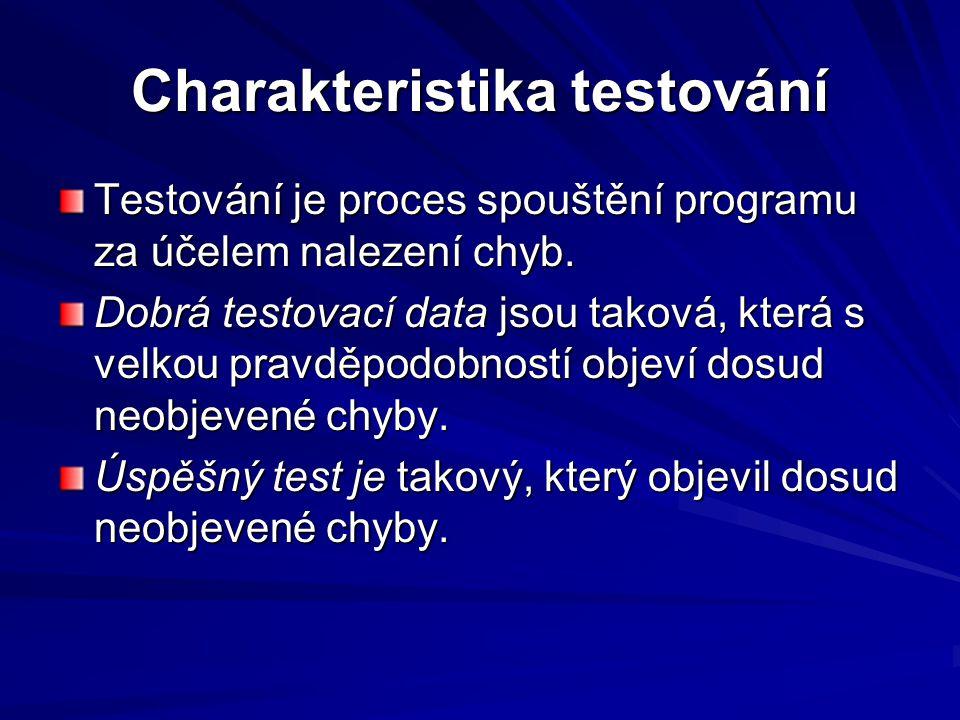 Charakteristika testování Testování je proces spouštění programu za účelem nalezení chyb.