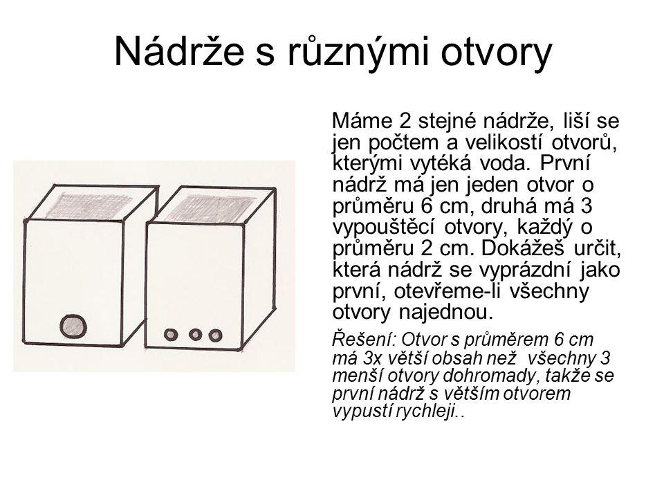 Nádrže s různými otvory Máme 2 stejné nádrže, liší se jen počtem a velikostí otvorů, kterými vytéká voda. První nádrž má jen jeden otvor o průměru 6 c