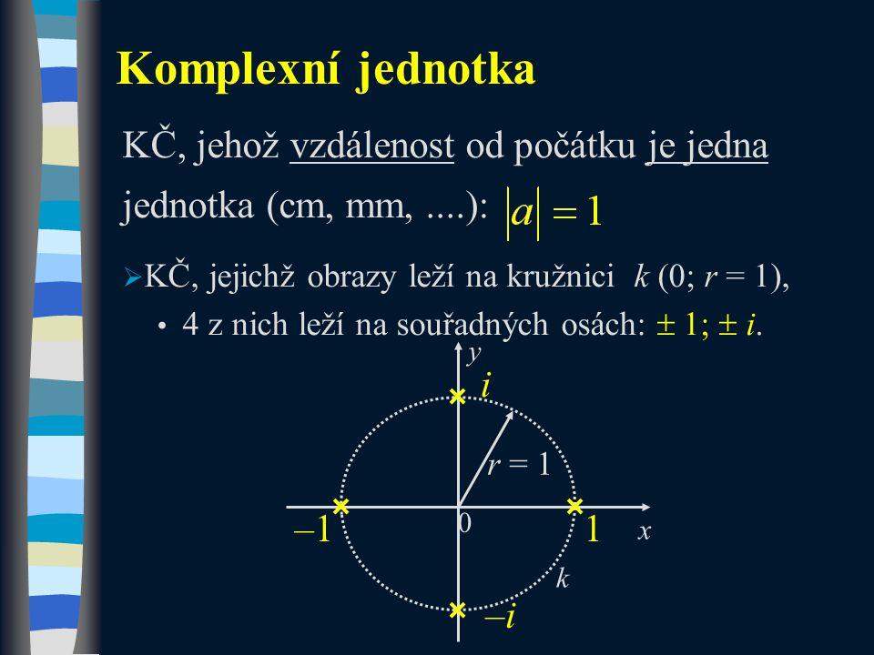 KČ, jehož vzdálenost od počátku je jedna jednotka (cm, mm,....):  KČ, jejichž obrazy leží na kružnici k (0; r = 1), 4 z nich leží na souřadných osách:  1;  i.