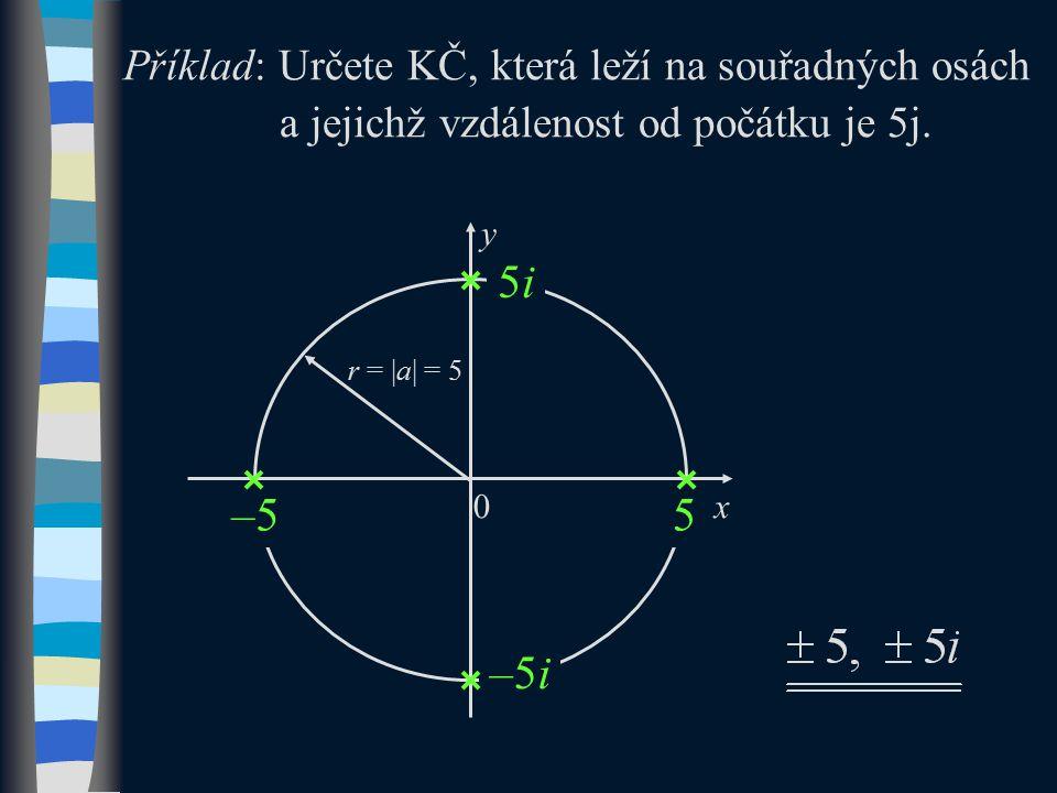 Příklad: Určete KČ, která leží na souřadných osách a jejichž vzdálenost od počátku je 5j.