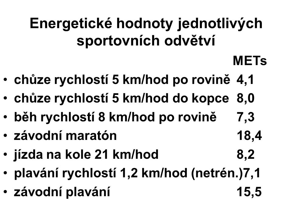 METs chůze rychlostí 5 km/hod po rovině4,1 chůze rychlostí 5 km/hod do kopce8,0 běh rychlostí 8 km/hod po rovině7,3 závodní maratón 18,4 jízda na kole 21 km/hod8,2 plavání rychlostí 1,2 km/hod (netrén.)7,1 závodní plavání 15,5 Energetické hodnoty jednotlivých sportovních odvětví
