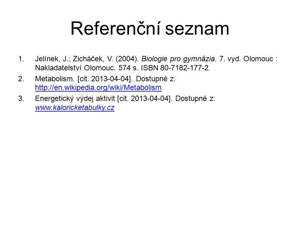 Referenční seznam 1.Jelínek, J.; Zicháček, V. (2004). Biologie pro gymnázia. 7. vyd. Olomouc : Nakladatelství Olomouc. 574 s. ISBN 80-7182-177-2. 2.Me