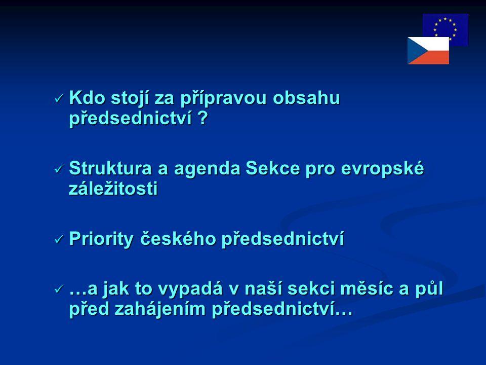 Struktura a agenda sekce Struktura a agenda sekce Sekce pro evropské záležitosti = obsah předsednictví  Náměstek místopředsedy vlády pro evropské záležitosti Marek Mora  Odbor koordinace evropských politik  Sekretariát Výboru pro Evropskou unii  Odbor koncepcí a analýz