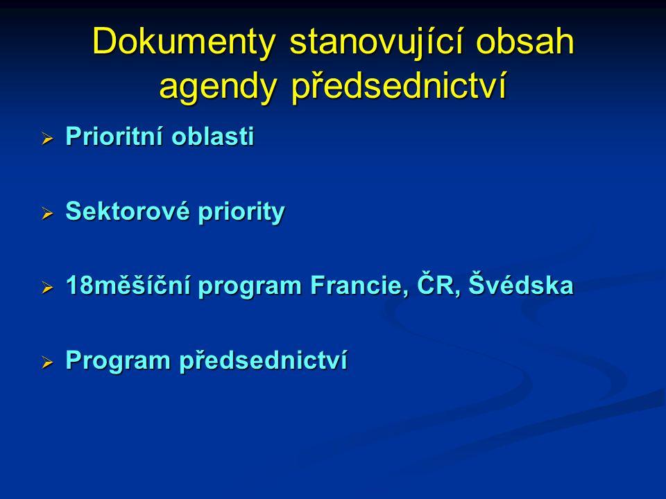 Dokumenty stanovující obsah agendy předsednictví  Prioritní oblasti  Sektorové priority  18měšíční program Francie, ČR, Švédska  Program předsednictví